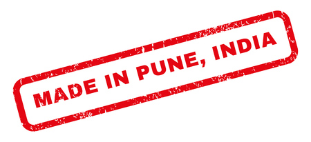 pune: Made In Pune India text rubber seal stamp watermark. Caption inside rectangular shape with grunge design and dust texture. Slanted glyph red ink emblem on a white background.