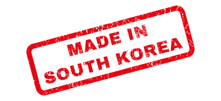 Made In South Korea text rubber seal stamp watermark. Caption inside rectangular shape with grunge design and dirty texture. Slanted glyph red ink sign on a white background.