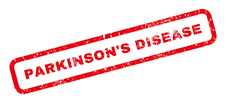 parkinson's: ParkinsonS Disease text rubber seal stamp watermark. Tag inside rectangular shape with grunge design and dust texture. Slanted glyph red ink sticker on a white background. Stock Photo