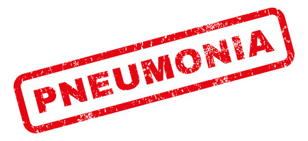 pneumonia: Pneumonia text rubber seal stamp watermark. Tag inside rectangular shape with grunge design and unclean texture. Slanted glyph red ink emblem on a white background. Stock Photo