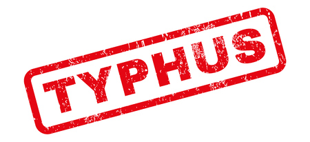 typhus: Typhus text rubber seal stamp watermark. Caption inside rectangular shape with grunge design and dust texture. Slanted glyph red ink sticker on a white background.