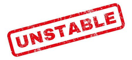 unstable: Unstable text rubber seal stamp watermark. Caption inside rectangular shape with grunge design and scratched texture. Slanted glyph red ink emblem on a white background.