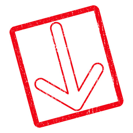 Arrow Down rubber seal stamp watermark. Vector pictogram symbol inside rotated rounded rectangle with grunge design and dirty texture. Unclean red ink sticker on a white background. Illustration