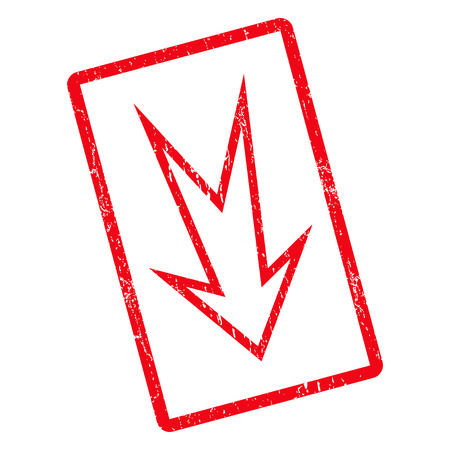 Arrow Down rubber seal stamp watermark. Vector pictogram symbol inside rotated rounded rectangle with grunge design and dirty texture. Unclean red ink emblem on a white background.