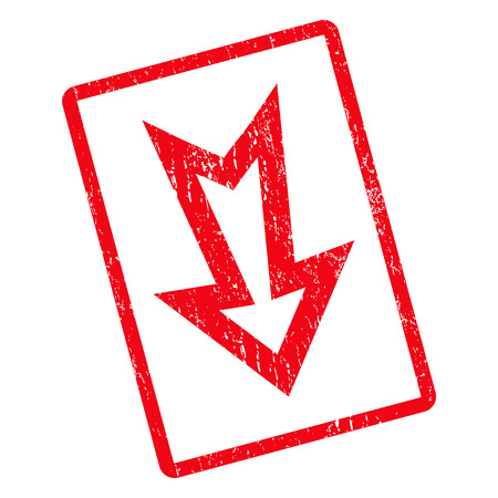 Arrow Down rubber seal stamp watermark. Vector icon symbol inside rotated rounded rectangular frame with grunge design and dust texture. Unclean red ink sticker on a white background.
