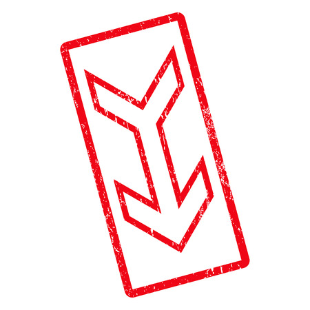 pointers: Arrow Down rubber seal stamp watermark. Vector pictogram symbol inside rotated rounded rectangle with grunge design and dirty texture. Unclean red ink emblem on a white background.