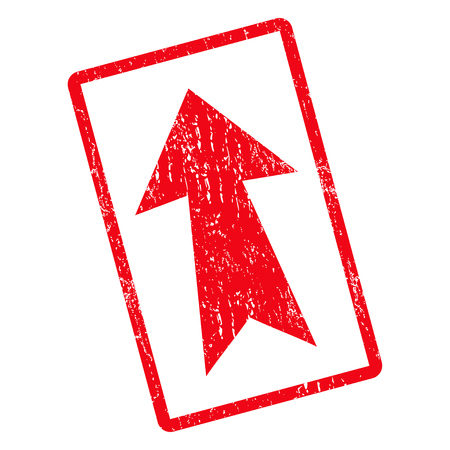 Arrow Up rubber seal stamp watermark. Vector icon symbol inside rotated rounded rectangular frame with grunge design and unclean texture. Unclean red ink sticker on a white background.