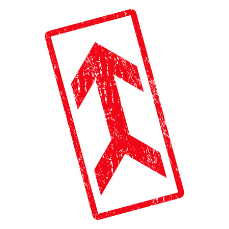 Arrow Up rubber seal stamp watermark. Vector icon symbol inside rotated rounded rectangular frame with grunge design and dust texture. Unclean red ink sticker on a white background.