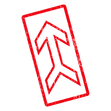 Arrow Up rubber seal stamp watermark. Vector pictogram symbol inside rotated rounded rectangular frame with grunge design and unclean texture. Unclean red ink emblem on a white background. Illustration