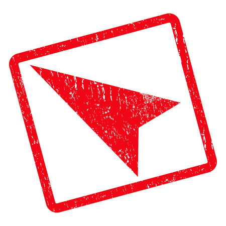 penetrating: Arrowhead Left-Up rubber seal stamp watermark. Vector pictogram symbol inside rotated rounded rectangle with grunge design and scratched texture. Unclean red ink sticker on a white background.