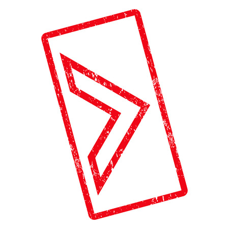 Arrowhead Right rubber seal stamp watermark. Vector icon symbol inside rotated rounded rectangle with grunge design and dirty texture. Unclean red ink sticker on a white background.