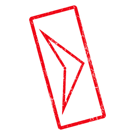 Arrowhead Right rubber seal stamp watermark. Vector pictogram symbol inside rotated rounded rectangle with grunge design and dust texture. Unclean red ink sticker on a white background.