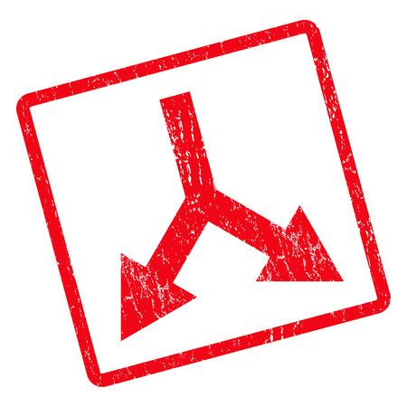 Bifurcação Seta Abaixo, selo de borracha, marca de água. Símbolo do pictograma do vetor dentro do retângulo arredondado girado com design grunge e textura suja. Etiqueta de tinta vermelha impura em um fundo branco.