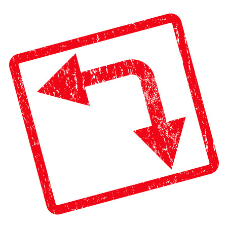 Bifurcation Arrow Left Down rubber seal stamp watermark. Vector icon symbol inside rotated rounded rectangle with grunge design and unclean texture. Unclean red ink sticker on a white background. Illustration