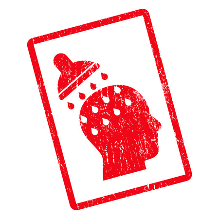 Brain Washing rubber seal stamp watermark. Vector pictogram symbol inside rotated rounded rectangular frame with grunge design and dust texture. Unclean red ink sticker on a white background.
