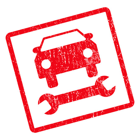 Car Repair rubber seal stamp watermark. Vector pictogram symbol inside rotated rounded rectangular frame with grunge design and scratched texture. Unclean red ink sign on a white background.