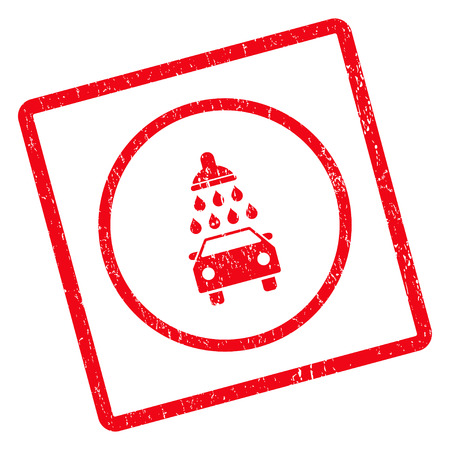 Car Shower rubber seal stamp watermark. Vector pictogram symbol inside rotated rounded rectangle with grunge design and dirty texture. Unclean red ink sticker on a white background. Vectores
