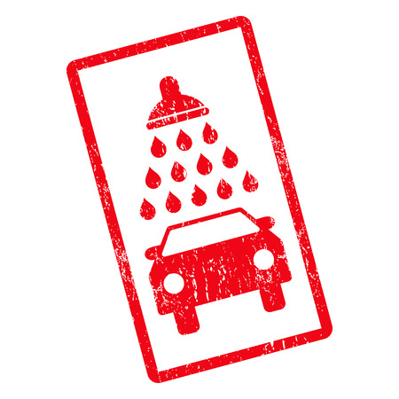 antiseptic: Car Shower rubber seal stamp watermark. Vector icon symbol inside rotated rounded rectangle with grunge design and dirty texture. Unclean red ink sticker on a white background. Illustration
