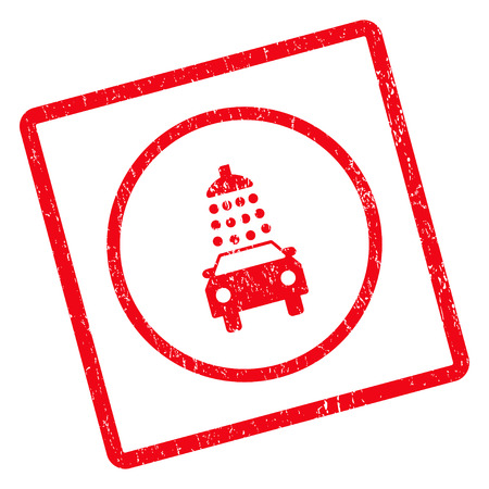 Car Wash rubber seal stamp watermark. Vector pictogram symbol inside rotated rounded rectangle with grunge design and scratched texture. Unclean red ink sign on a white background.