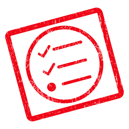 Checklist rubber seal stamp watermark. Vector pictogram symbol inside rotated rounded rectangular frame with grunge design and dust texture. Unclean red ink sign on a white background.
