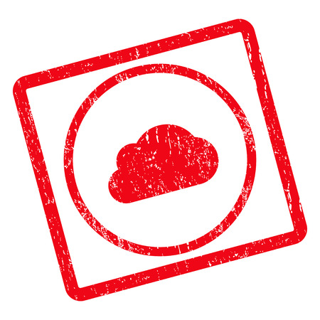 dust cloud: Cloud rubber seal stamp watermark. Vector pictogram symbol inside rotated rounded rectangle with grunge design and dust texture. Unclean red ink sign on a white background.