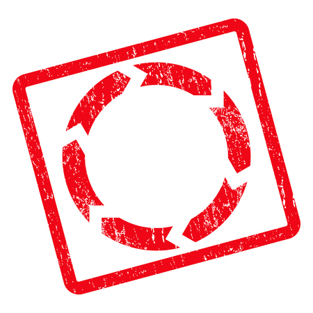 Circulation rubber seal stamp watermark. Vector pictogram symbol inside rotated rounded rectangular frame with grunge design and scratched texture. Unclean red ink sign on a white background.