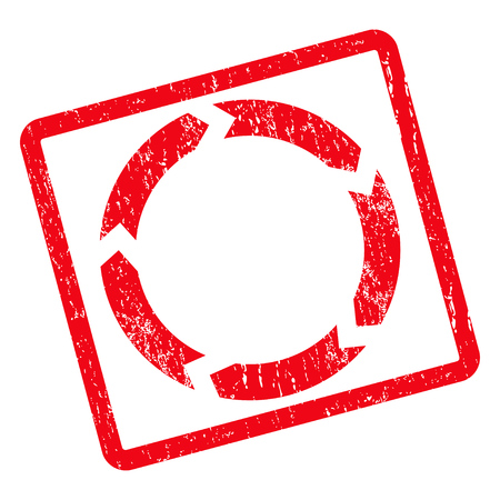 Filigrane en caoutchouc de cachet de circulation. Symbole d'icône de vecteur à l'intérieur de rectangle arrondi tourné avec design grunge et texture sale. Emblème d'encre rouge sale sur un fond blanc.