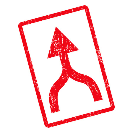 Combine Arrow Up rubber seal stamp watermark. Vector pictogram symbol inside rotated rounded rectangular frame with grunge design and dirty texture. Unclean red ink emblem on a white background.