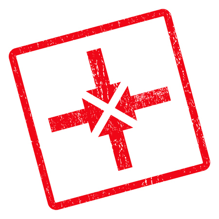 Compress Arrows rubber seal stamp watermark. Vector pictogram symbol inside rotated rounded rectangle with grunge design and dirty texture. Unclean red ink emblem on a white background.