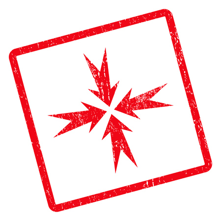 clash: Compression Arrows rubber seal stamp watermark. Vector icon symbol inside rotated rounded rectangle with grunge design and dust texture. Unclean red ink emblem on a white background.