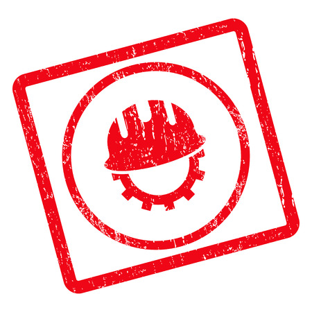 Development Hardhat rubber seal stamp watermark. Vector icon symbol inside rotated rounded rectangle with grunge design and dust texture. Unclean red ink sticker on a white background.