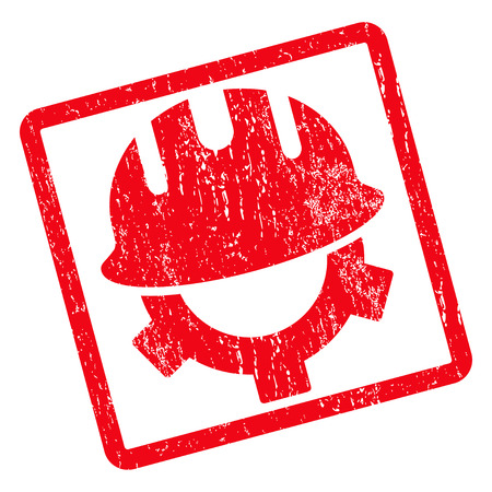 corrosion: Development Helmet rubber seal stamp watermark. Vector icon symbol inside rotated rounded rectangular frame with grunge design and dust texture. Unclean red ink sticker on a white background. Illustration