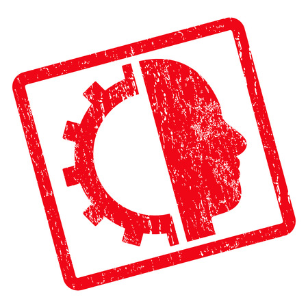Cyborg Gear rubber seal stamp watermark. Vector icon symbol inside rotated rounded rectangular frame with grunge design and dirty texture. Unclean red ink sticker on a white background.
