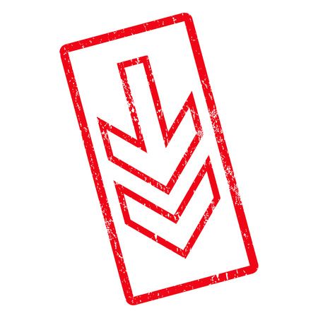 Direction Down rubber seal stamp watermark. Vector icon symbol inside rotated rounded rectangle with grunge design and scratched texture. Unclean red ink emblem on a white background. Illustration