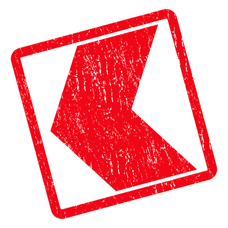 Direction Left rubber seal stamp watermark. Vector icon symbol inside rotated rounded rectangle with grunge design and unclean texture. Unclean red ink emblem on a white background. Illustration