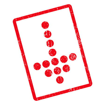 Dotted Arrow Down rubber seal stamp watermark. Vector pictogram symbol inside rotated rounded rectangular frame with grunge design and scratched texture. Unclean red ink sticker on a white background.