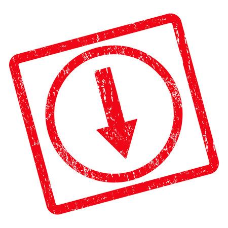 Giù arrotondato Arrow rubber seal filigrana di francobolli. Simbolo del pittogramma di vettore all'interno del rettangolo arrotondato ruotato con disegno del grunge e la consistenza della polvere. Segno di inchiostro rosso sporco su uno sfondo bianco.