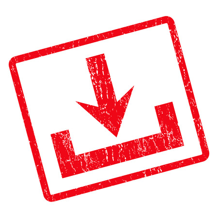 moving down: Downloads rubber seal stamp watermark. Vector pictogram symbol inside rotated rounded rectangle with grunge design and dirty texture. Unclean red ink sticker on a white background.
