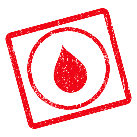 watery: Drop rubber seal stamp watermark. Vector icon symbol inside rotated rounded rectangle with grunge design and scratched texture. Unclean red ink sign on a white background.