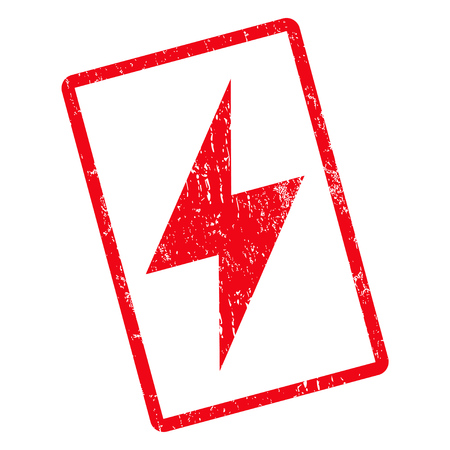 Electric Strike rubber seal stamp watermark. Vector icon symbol inside rotated rounded rectangle with grunge design and dust texture. Unclean red ink emblem on a white background.