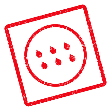 Drops rubber seal stamp watermark. Vector icon symbol inside rotated rounded rectangular frame with grunge design and scratched texture. Unclean red ink emblem on a white background.