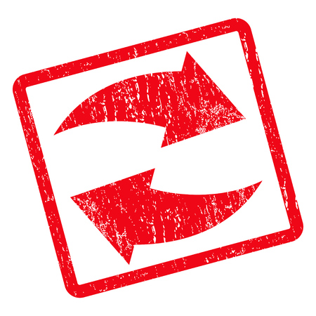 Exchange Arrows rubber seal stamp watermark. Vector icon symbol inside rotated rounded rectangle with grunge design and dust texture. Unclean red ink sign on a white background.