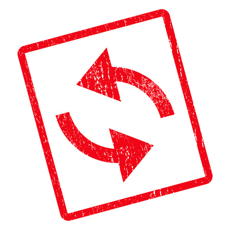 cíclico: Exchange Arrows rubber seal stamp watermark. Vector pictogram symbol inside rotated rounded rectangle with grunge design and scratched texture. Unclean red ink sign on a white background.