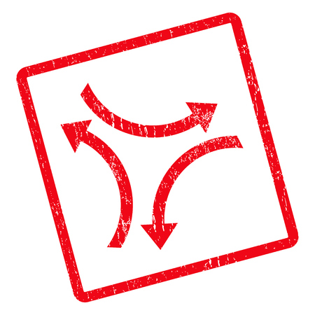 Exchange Arrows rubber seal stamp watermark. Vector pictogram symbol inside rotated rounded rectangle with grunge design and dust texture. Unclean red ink emblem on a white background. Illustration