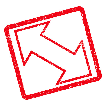 Exchange Diagonal rubber seal stamp watermark. Vector icon symbol inside rotated rounded rectangle with grunge design and dirty texture. Unclean red ink sign on a white background.