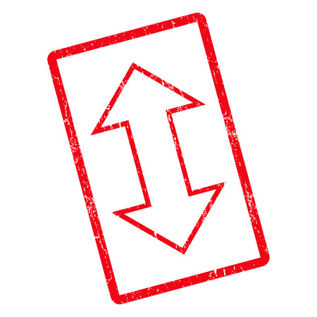 moving down: Exchange Vertical rubber seal stamp watermark. Vector icon symbol inside rotated rounded rectangle with grunge design and dirty texture. Unclean red ink sticker on a white background.