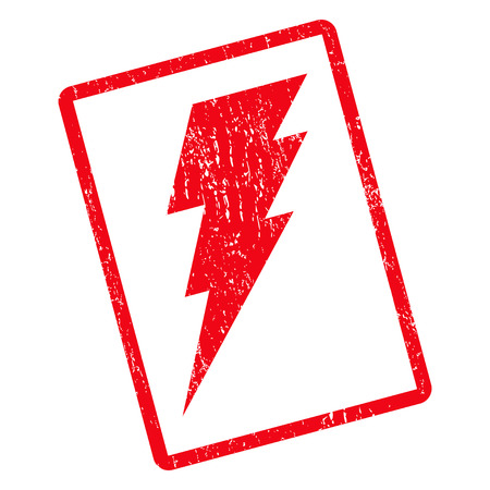 Execute rubber seal stamp watermark. Vector pictogram symbol inside rotated rounded rectangular frame with grunge design and dust texture. Unclean red ink sticker on a white background.