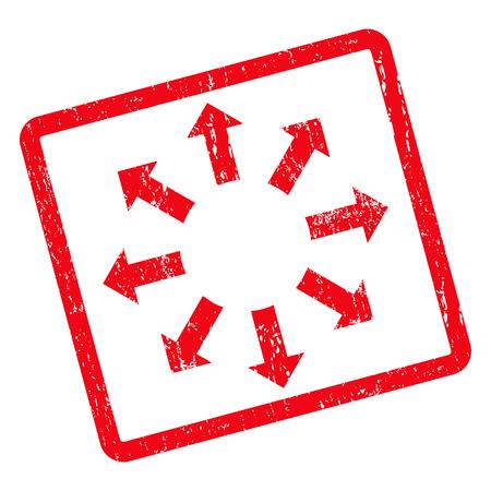 Expanda la marca de agua del sello del sello de goma Arrows. Vector el símbolo del pictograma dentro del marco rectangular redondeado girado con diseño del grunge y textura sucia. Etiqueta engomada sucia de la tinta roja en un fondo blanco.