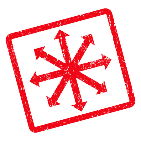 resize: Expand Arrows rubber seal stamp watermark. Vector icon symbol inside rotated rounded rectangle with grunge design and scratched texture. Unclean red ink sticker on a white background.