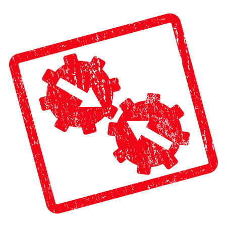 Gear Integration rubber seal stamp watermark. Vector pictogram symbol inside rotated rounded rectangle with grunge design and dust texture. Unclean red ink emblem on a white background.